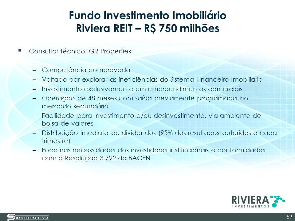 Fundo Investimento Imobiliário Riviera REIT – R$ 750 milhões