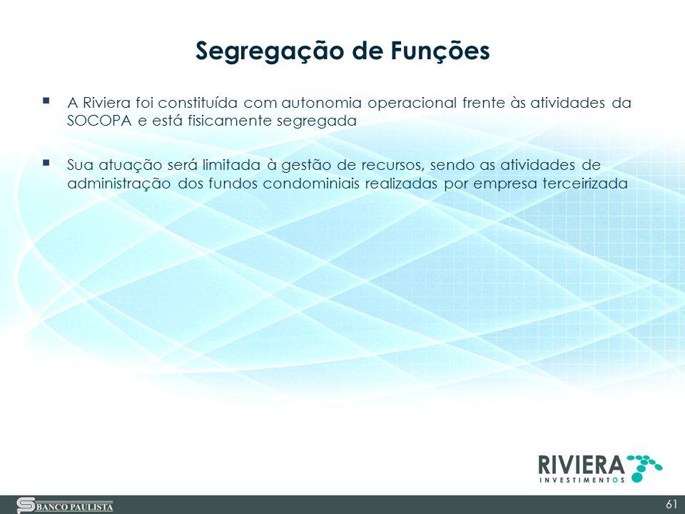Segregação de Funções A Riviera foi constituída com autonomia operacional frente às atividades da SOCOPA e está fisicamente segregada.