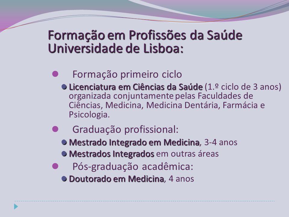 Formação em Profissões da Saúde Universidade de Lisboa: