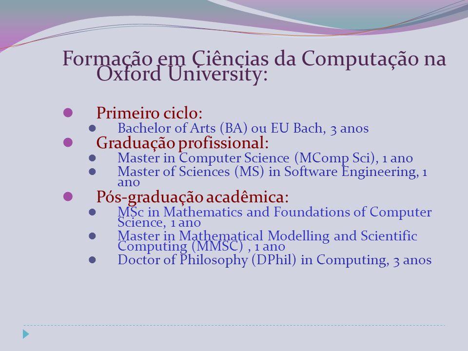 Formação em Ciências da Computação na Oxford University: