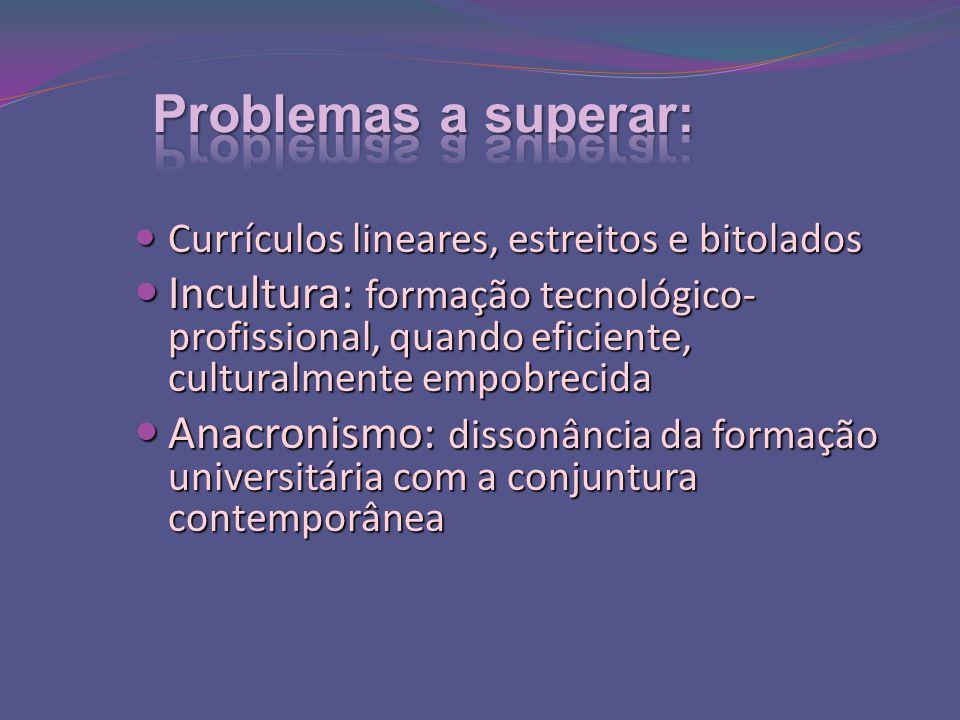 Problemas a superar: Currículos lineares, estreitos e bitolados.