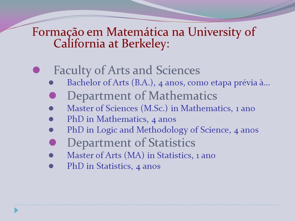 Formação em Matemática na University of California at Berkeley: