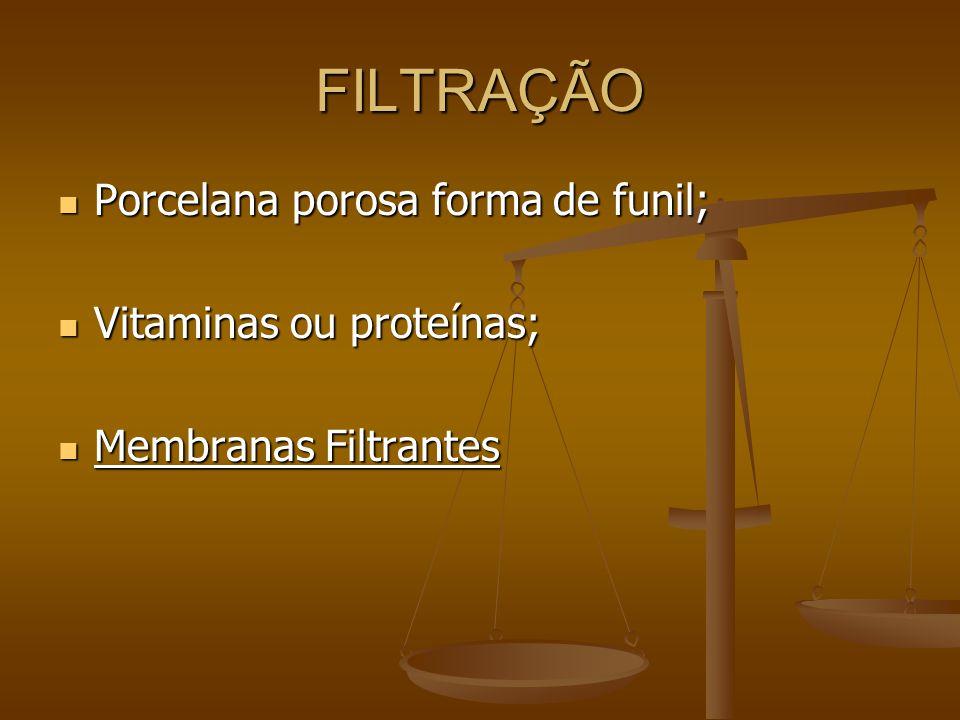 FILTRAÇÃO Porcelana porosa forma de funil; Vitaminas ou proteínas;