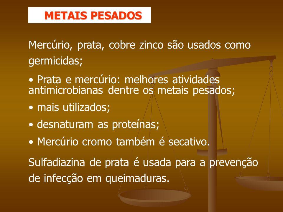 METAIS PESADOS Mercúrio, prata, cobre zinco são usados como germicidas;