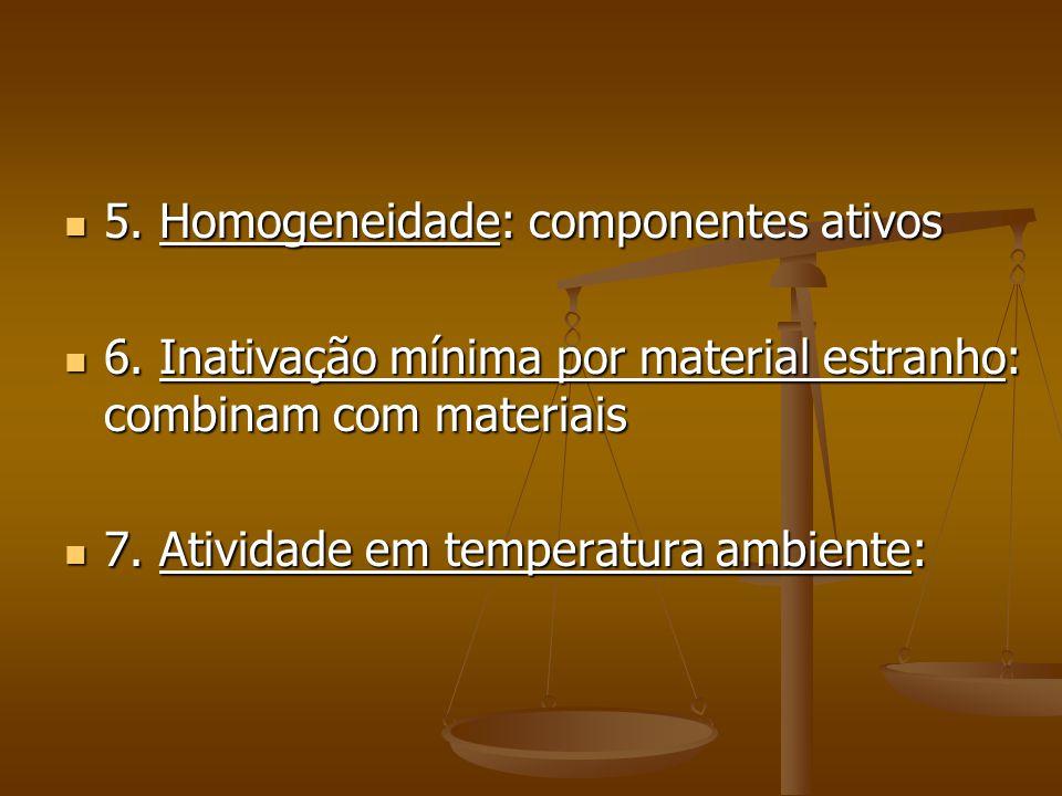 5. Homogeneidade: componentes ativos
