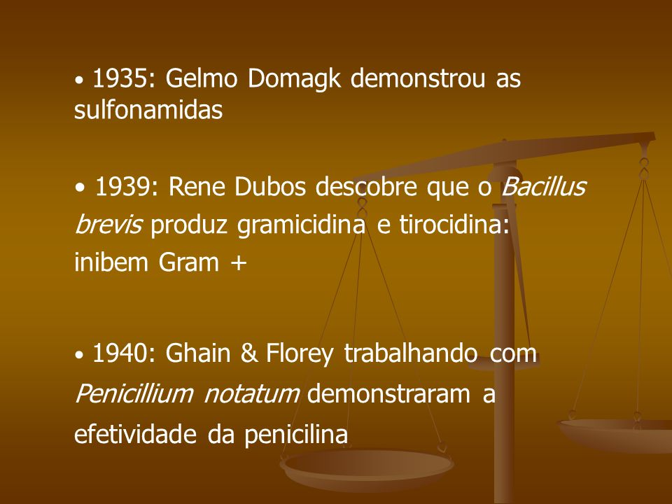 1935: Gelmo Domagk demonstrou as sulfonamidas