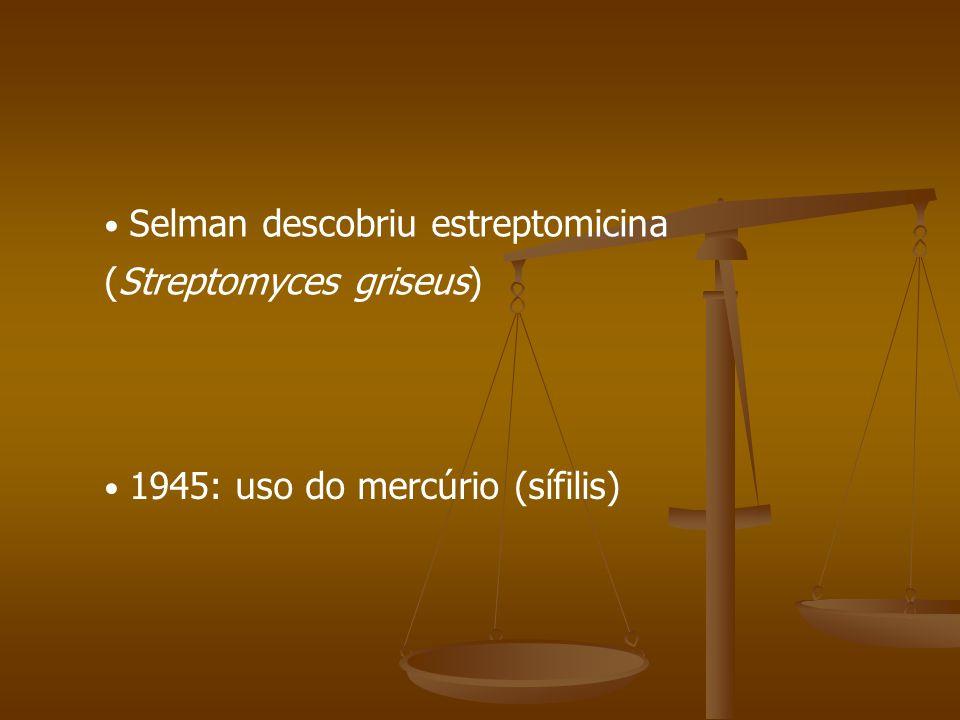 Selman descobriu estreptomicina (Streptomyces griseus)