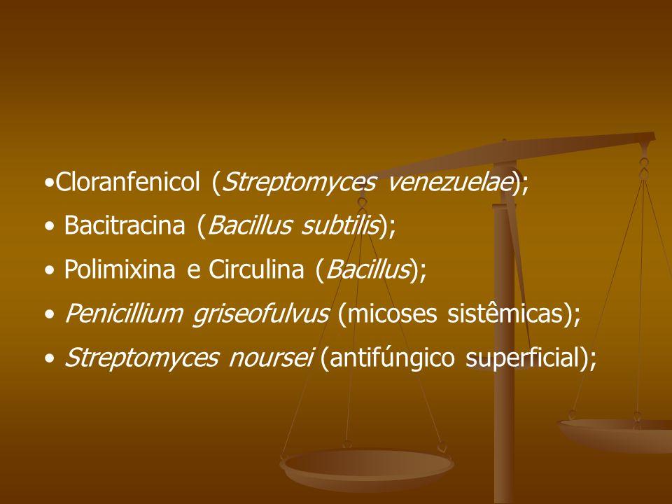 Cloranfenicol (Streptomyces venezuelae);