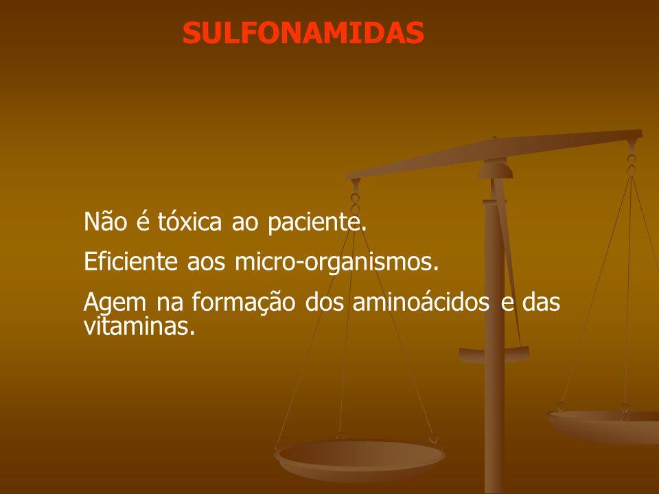 SULFONAMIDAS Não é tóxica ao paciente. Eficiente aos micro-organismos.