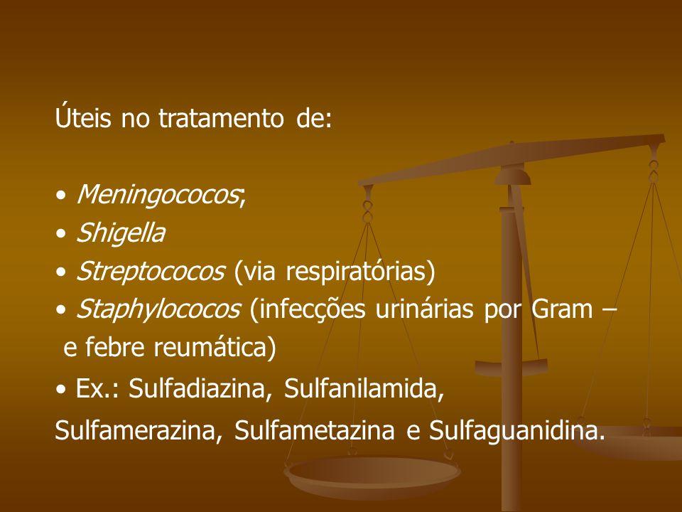 Úteis no tratamento de: