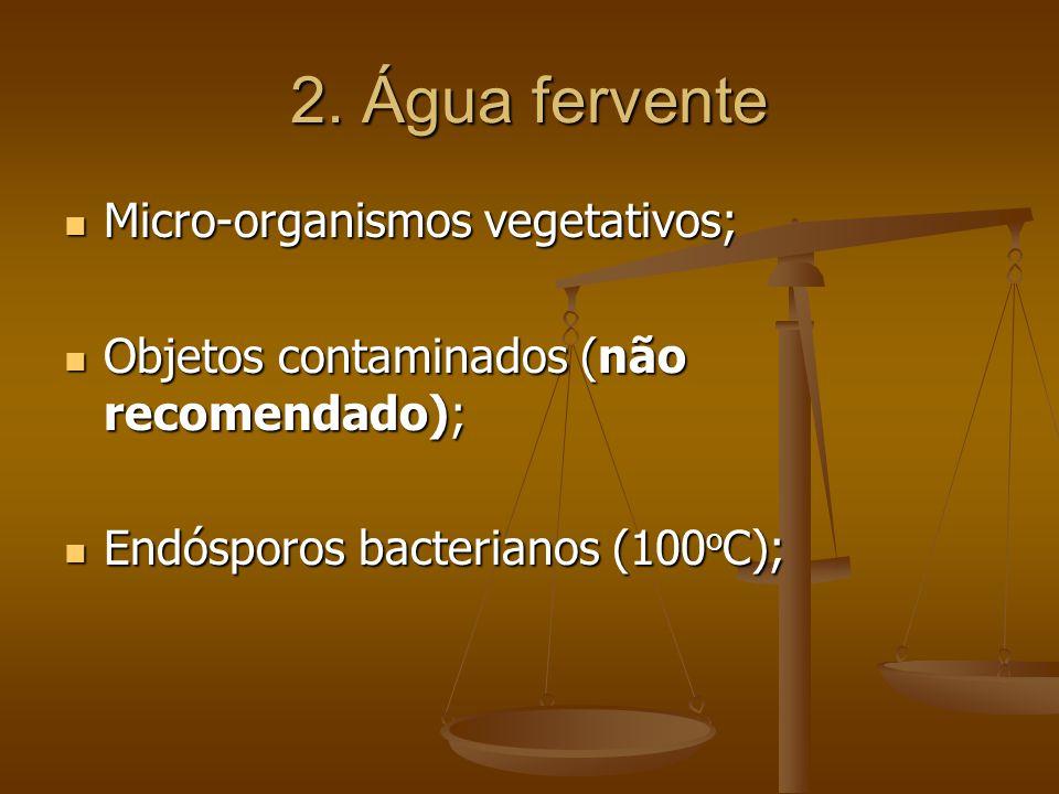 2. Água fervente Micro-organismos vegetativos;