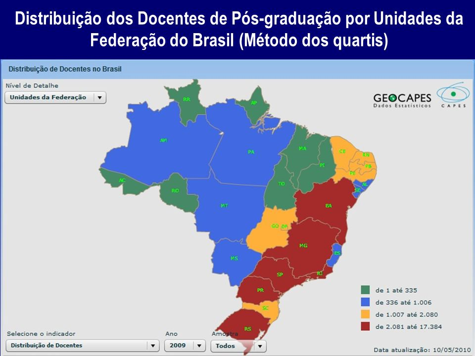 Distribuição dos Docentes de Pós-graduação por Unidades da Federação do Brasil (Método dos quartis)