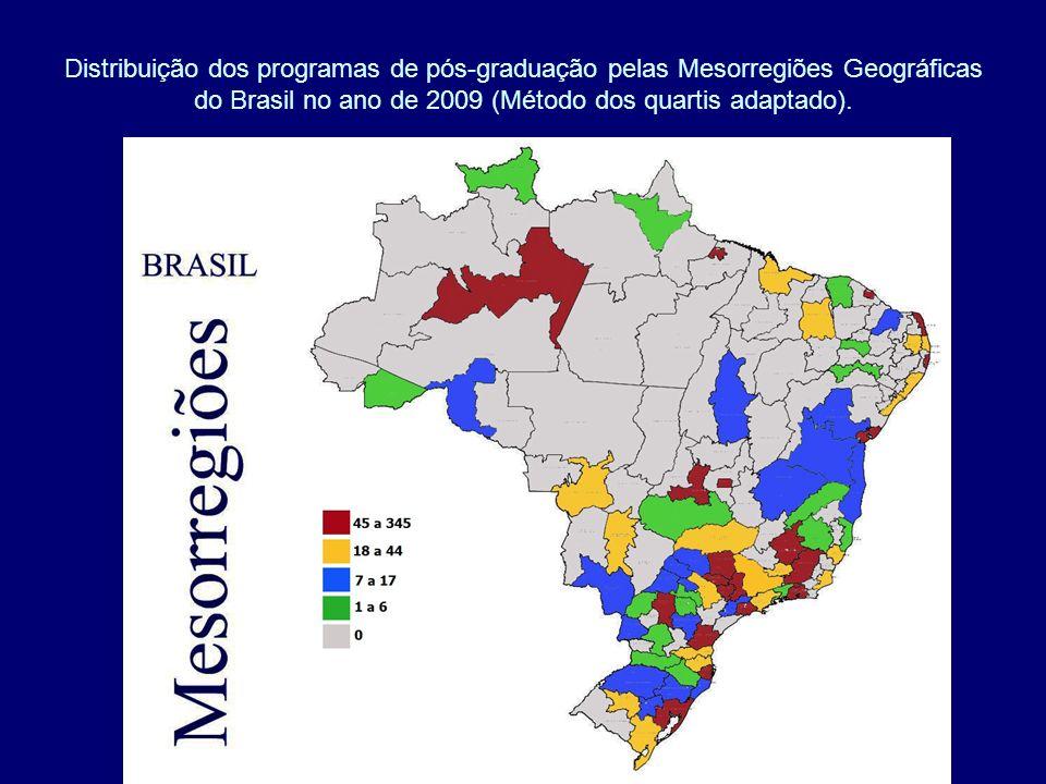 Distribuição dos programas de pós-graduação pelas Mesorregiões Geográficas do Brasil no ano de 2009 (Método dos quartis adaptado).