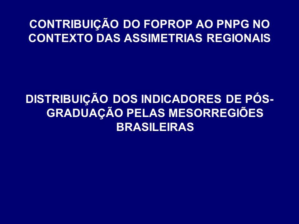 CONTRIBUIÇÃO DO FOPROP AO PNPG NO CONTEXTO DAS ASSIMETRIAS REGIONAIS