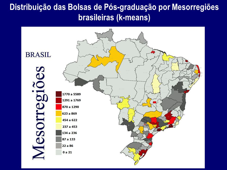 Distribuição das Bolsas de Pós-graduação por Mesorregiões brasileiras (k-means)