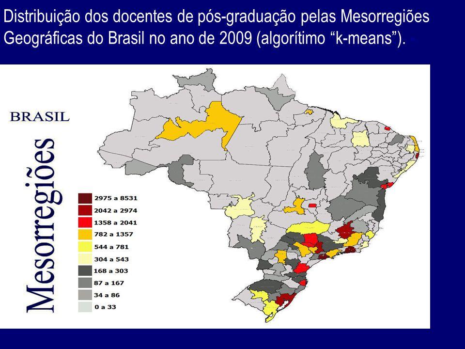 Distribuição dos docentes de pós-graduação pelas Mesorregiões Geográficas do Brasil no ano de 2009 (algorítimo k-means ).