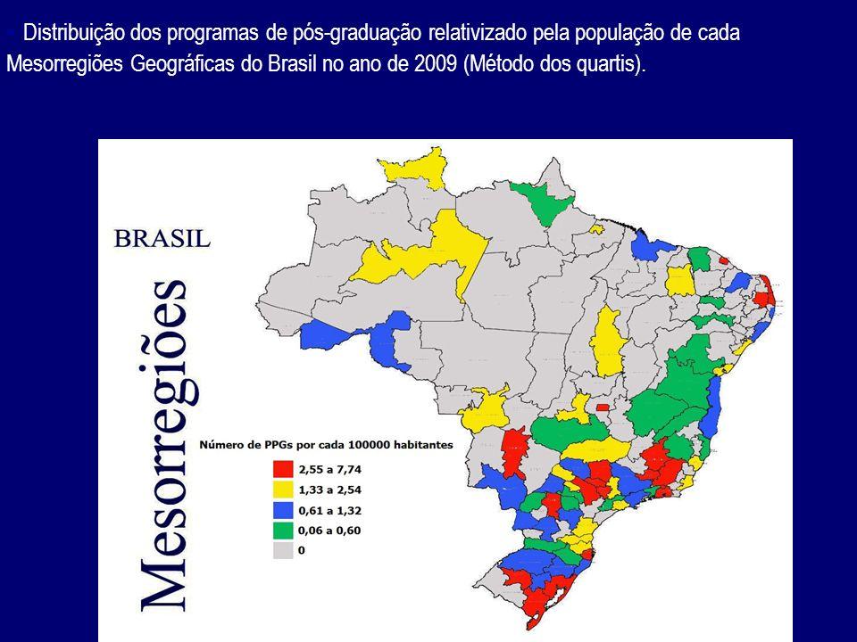 - Distribuição dos programas de pós-graduação relativizado pela população de cada Mesorregiões Geográficas do Brasil no ano de 2009 (Método dos quartis).