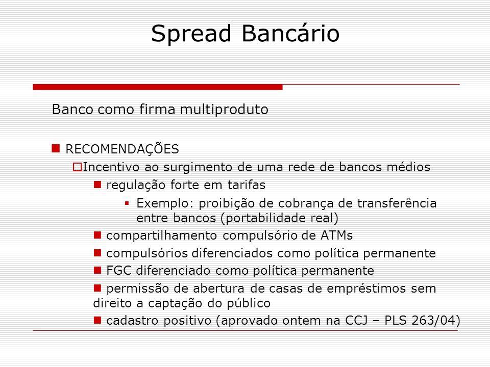 Spread Bancário Banco como firma multiproduto RECOMENDAÇÕES