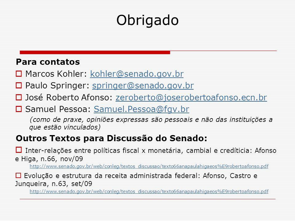 Obrigado Para contatos Marcos Kohler: kohler@senado.gov.br