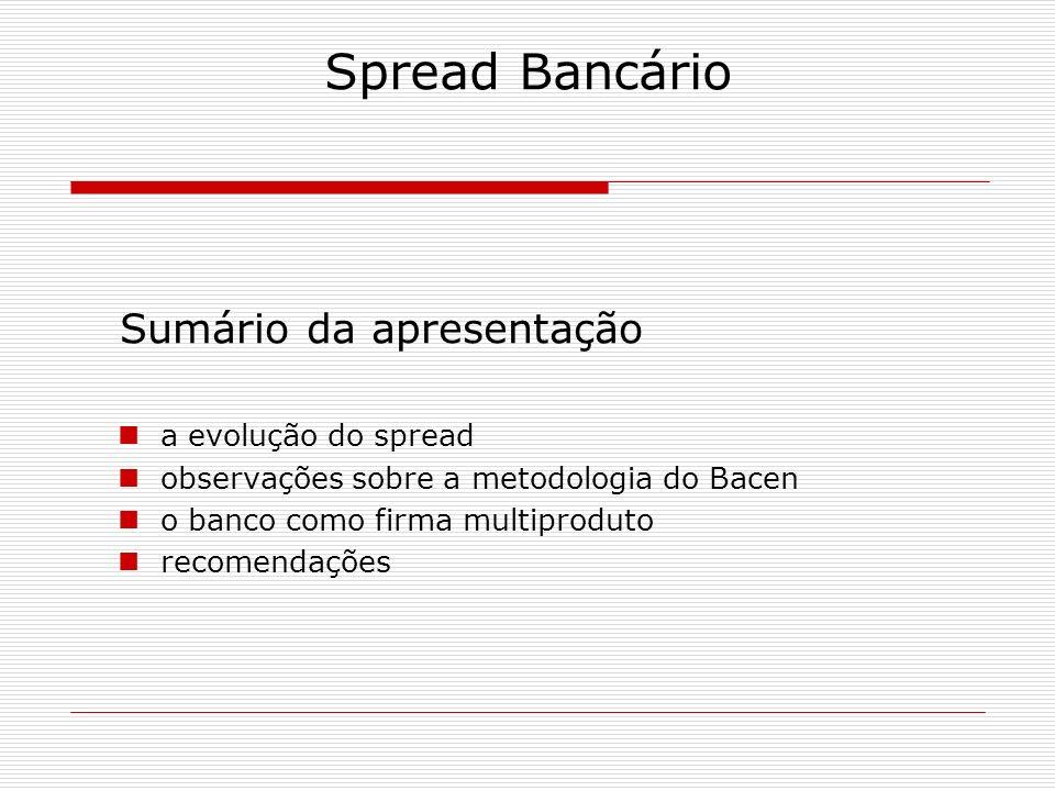 Spread Bancário Sumário da apresentação a evolução do spread