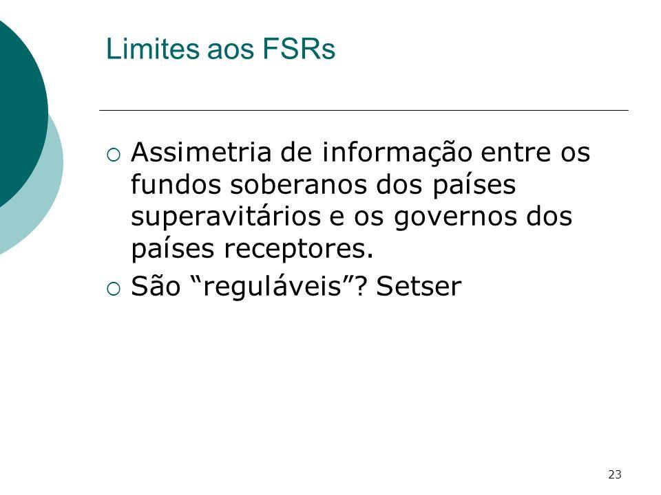 Limites aos FSRs Assimetria de informação entre os fundos soberanos dos países superavitários e os governos dos países receptores.