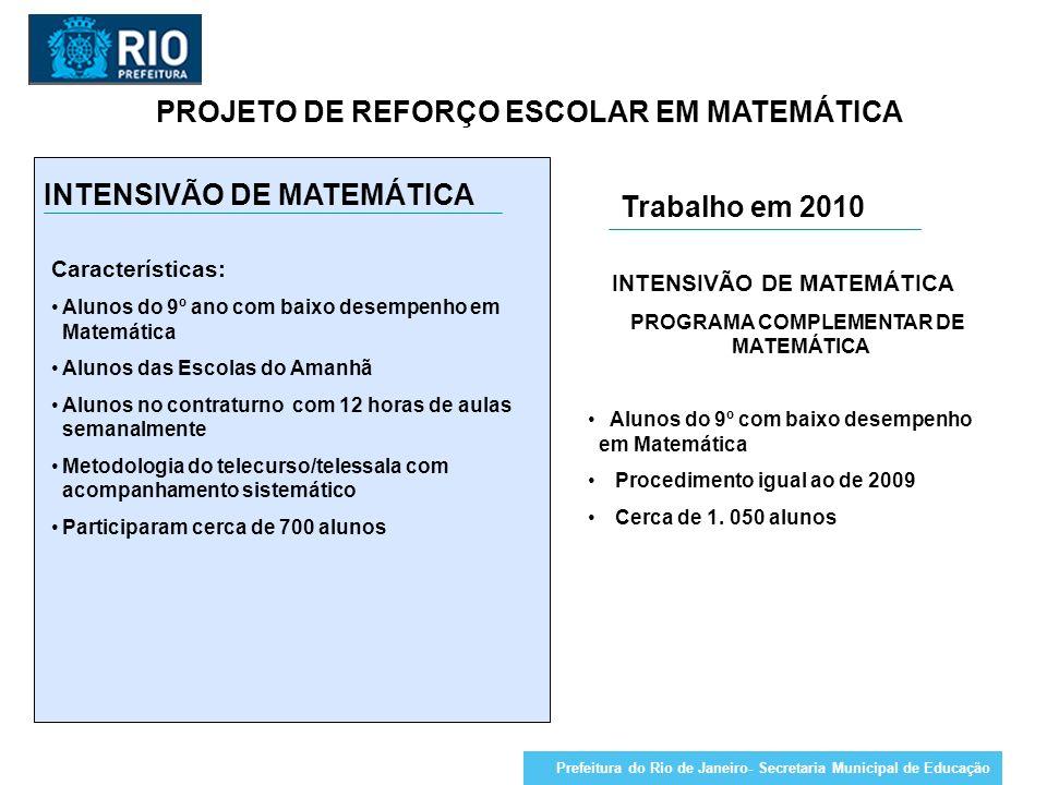 PROJETO DE REFORÇO ESCOLAR EM MATEMÁTICA