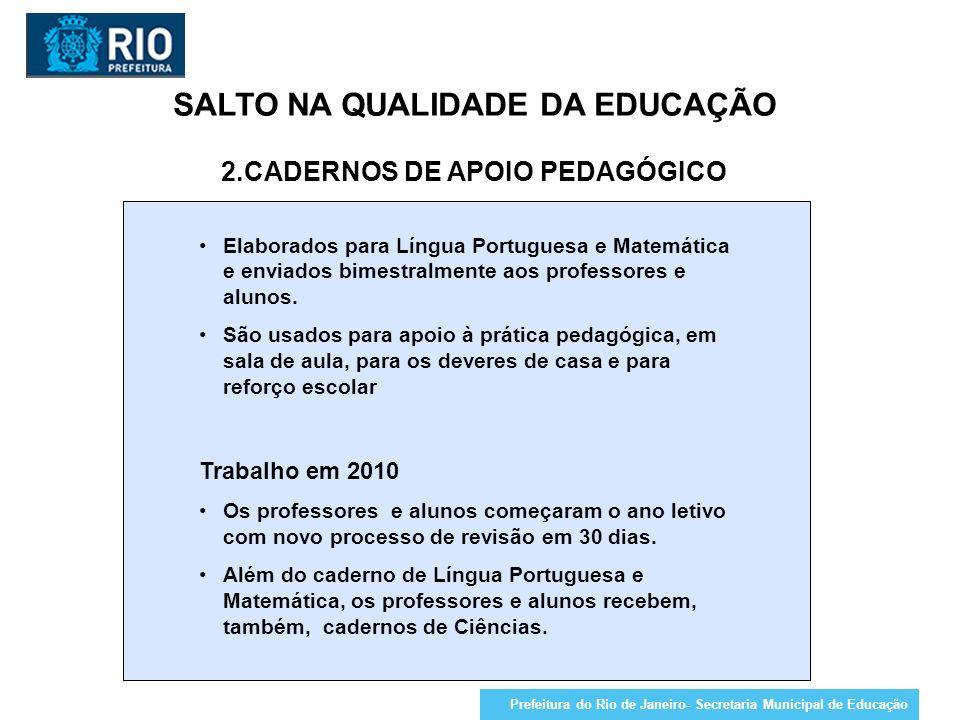 SALTO NA QUALIDADE DA EDUCAÇÃO 2.CADERNOS DE APOIO PEDAGÓGICO