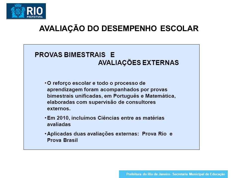 AVALIAÇÃO DO DESEMPENHO ESCOLAR