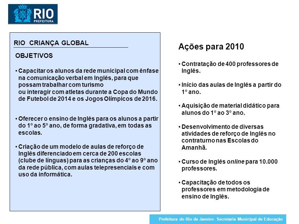 Ações para 2010 RIO CRIANÇA GLOBAL OBJETIVOS