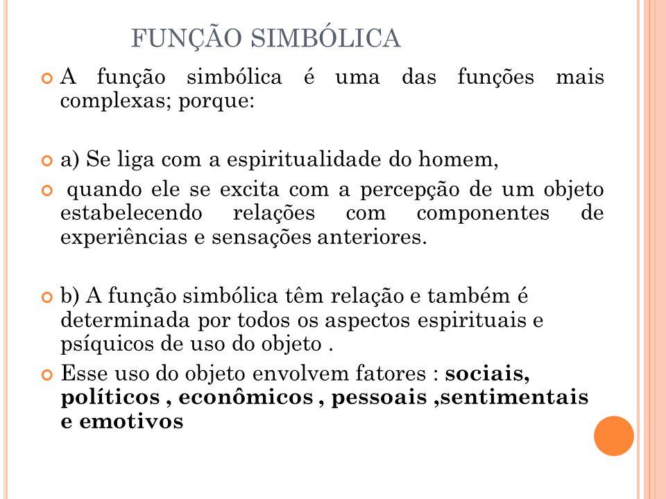 FUNÇÃO SIMBÓLICA A função simbólica é uma das funções mais complexas; porque: a) Se liga com a espiritualidade do homem,