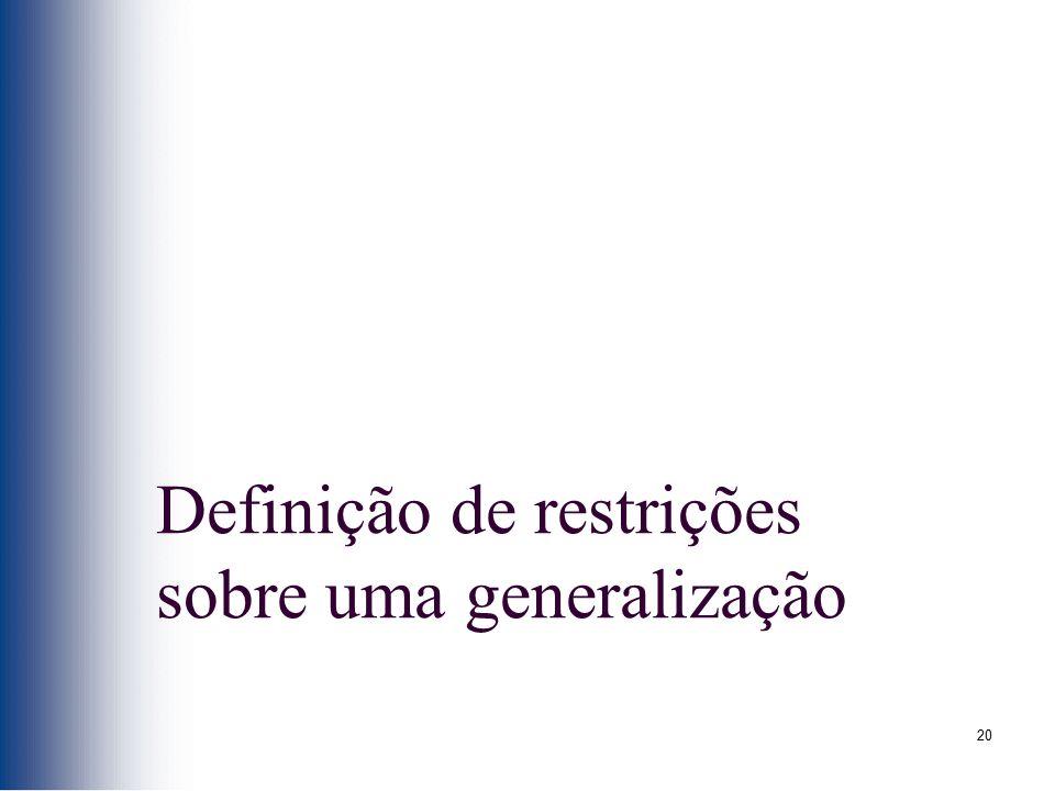 Definição de restrições sobre uma generalização