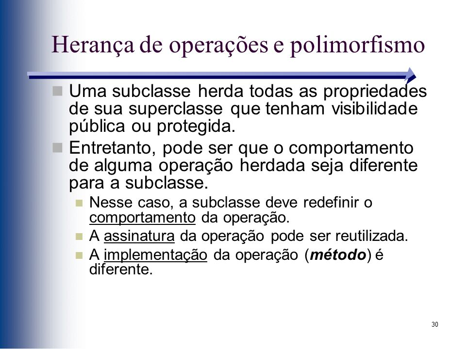 Herança de operações e polimorfismo