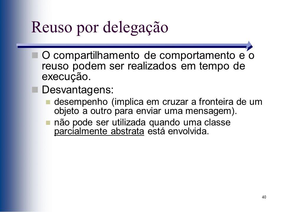 Reuso por delegação O compartilhamento de comportamento e o reuso podem ser realizados em tempo de execução.