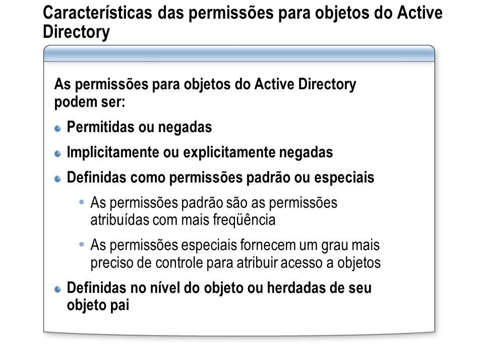 Características das permissões para objetos do Active Directory