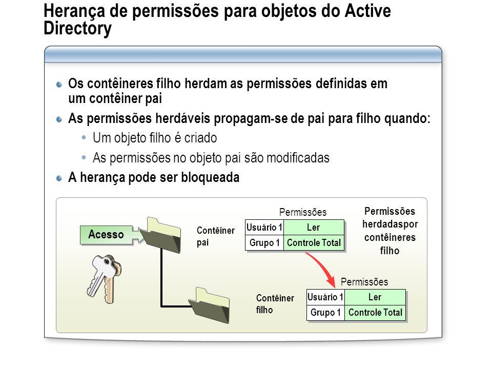 Herança de permissões para objetos do Active Directory