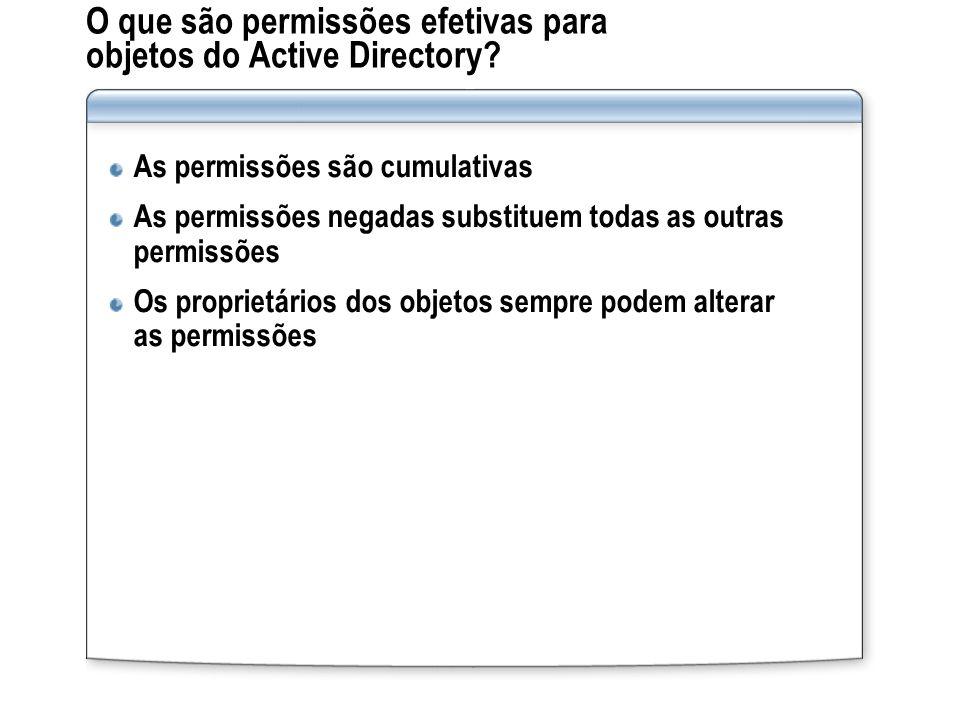 O que são permissões efetivas para objetos do Active Directory