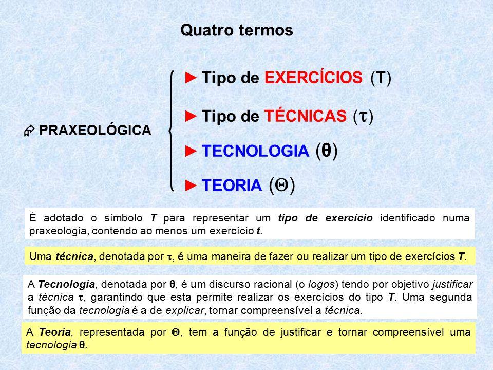 Quatro termos Tipo de EXERCÍCIOS (T) Tipo de TÉCNICAS ()
