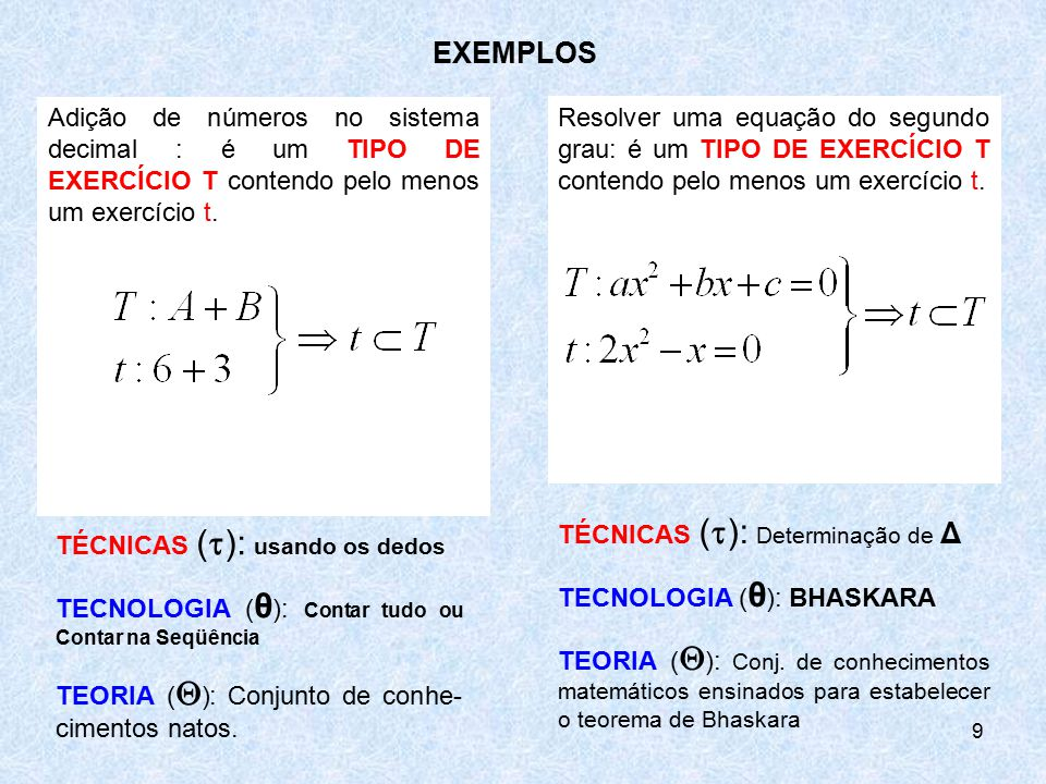 EXEMPLOS Adição de números no sistema decimal : é um TIPO DE EXERCÍCIO T contendo pelo menos um exercício t.