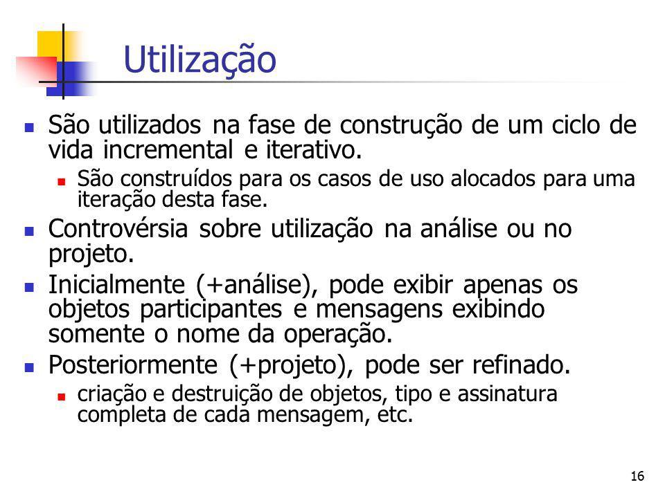 Utilização São utilizados na fase de construção de um ciclo de vida incremental e iterativo.