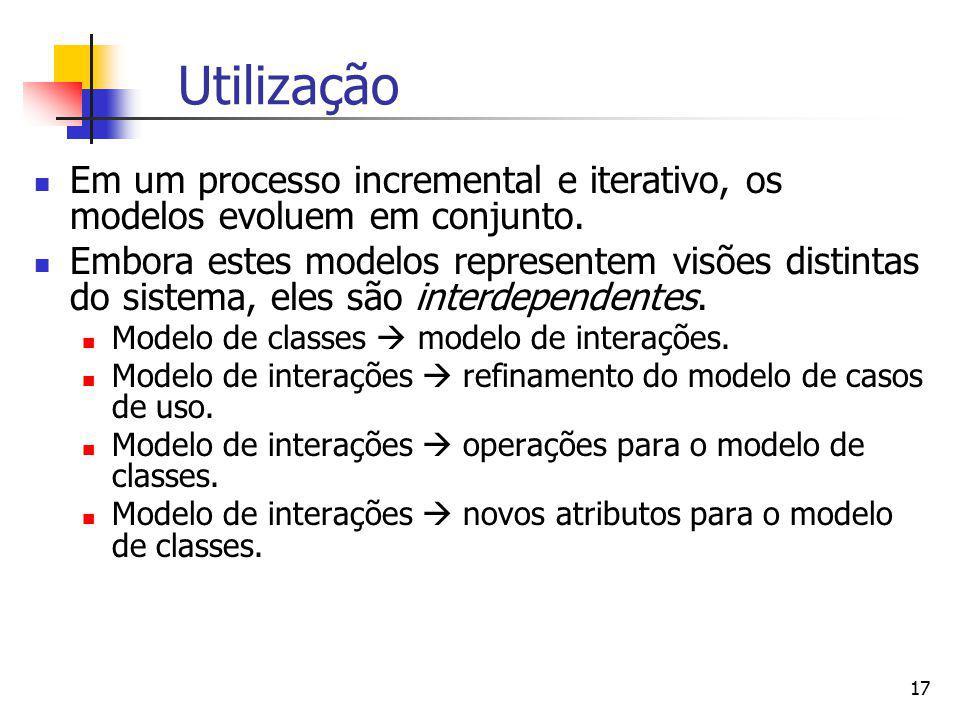 Utilização Em um processo incremental e iterativo, os modelos evoluem em conjunto.