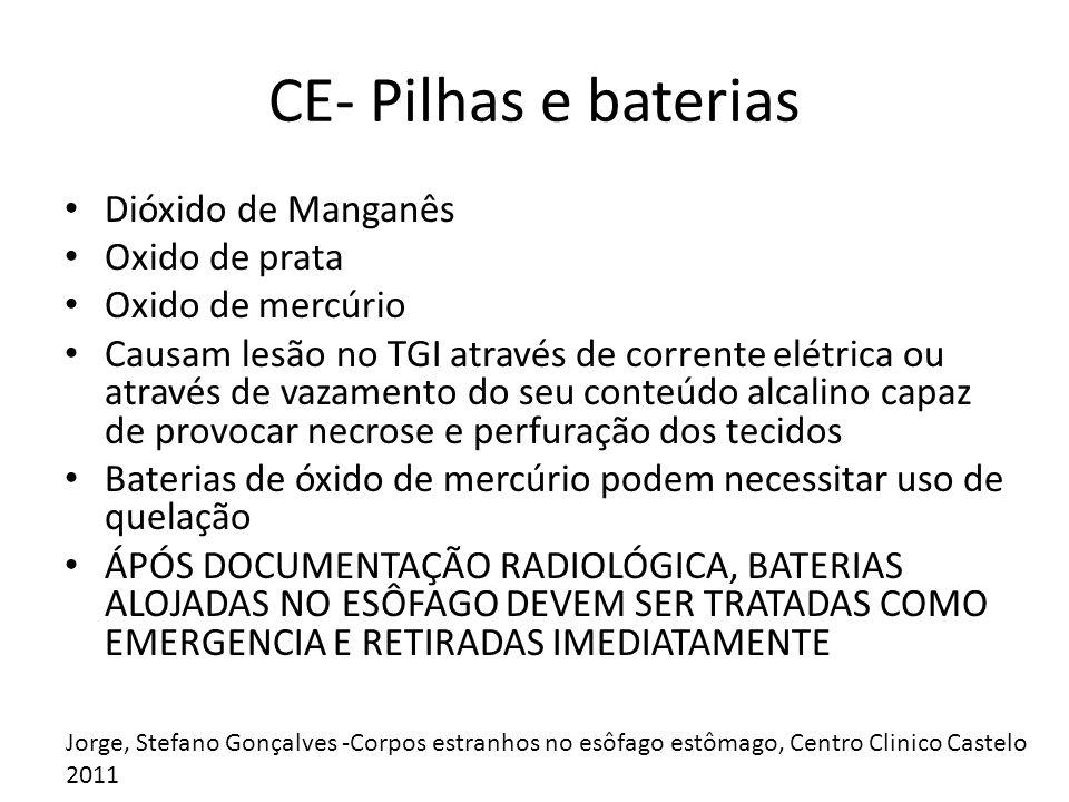 CE- Pilhas e baterias Dióxido de Manganês Oxido de prata
