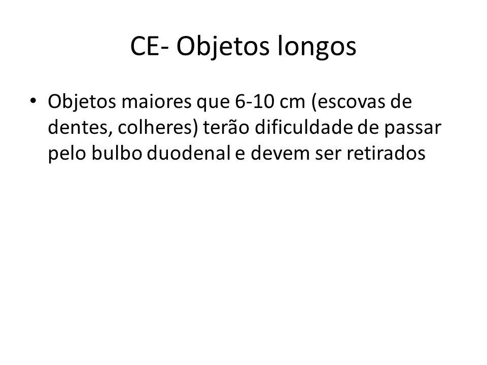 CE- Objetos longos Objetos maiores que 6-10 cm (escovas de dentes, colheres) terão dificuldade de passar pelo bulbo duodenal e devem ser retirados.