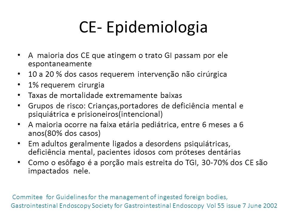 CE- Epidemiologia A maioria dos CE que atingem o trato GI passam por ele espontaneamente. 10 a 20 % dos casos requerem intervenção não cirúrgica.