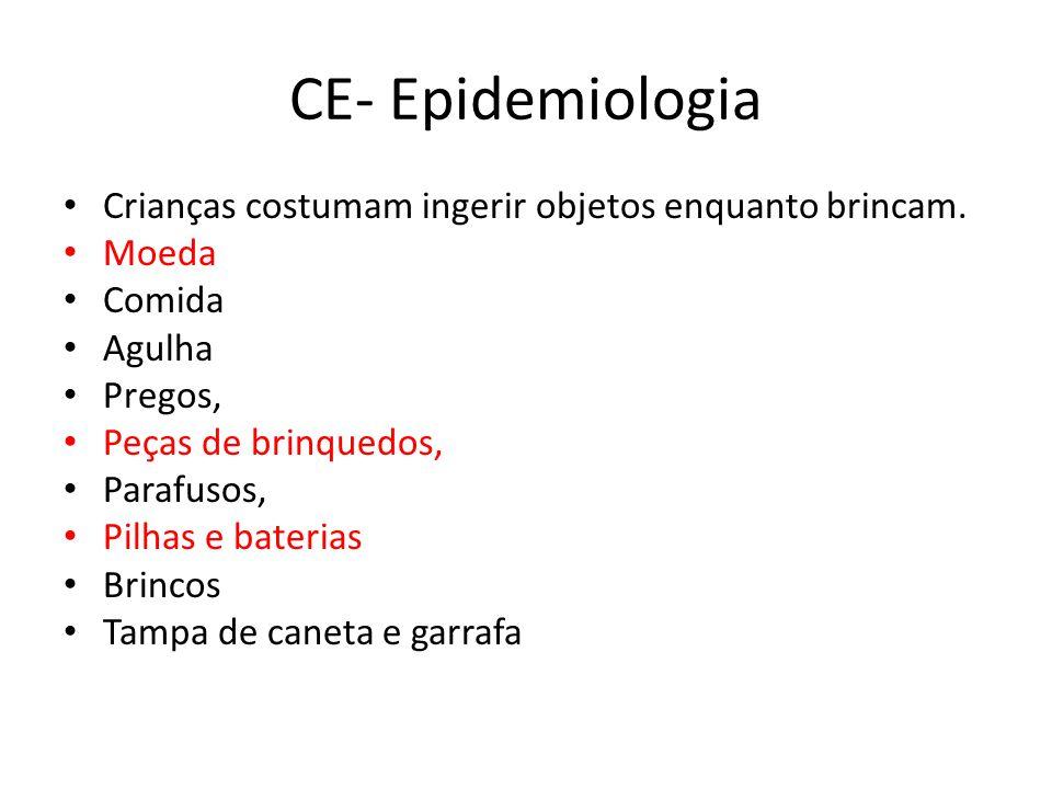 CE- Epidemiologia Crianças costumam ingerir objetos enquanto brincam.