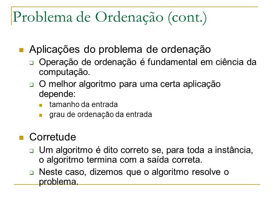 Problema de Ordenação (cont.)