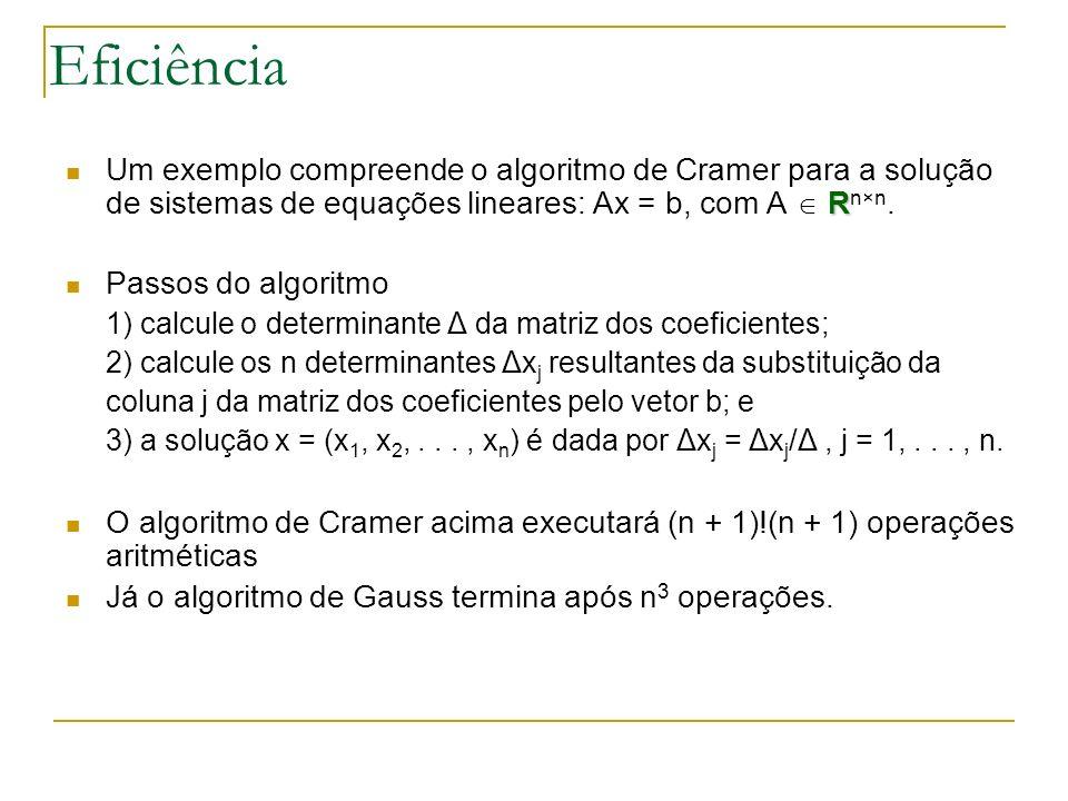 Eficiência Um exemplo compreende o algoritmo de Cramer para a solução de sistemas de equações lineares: Ax = b, com A  Rn×n.