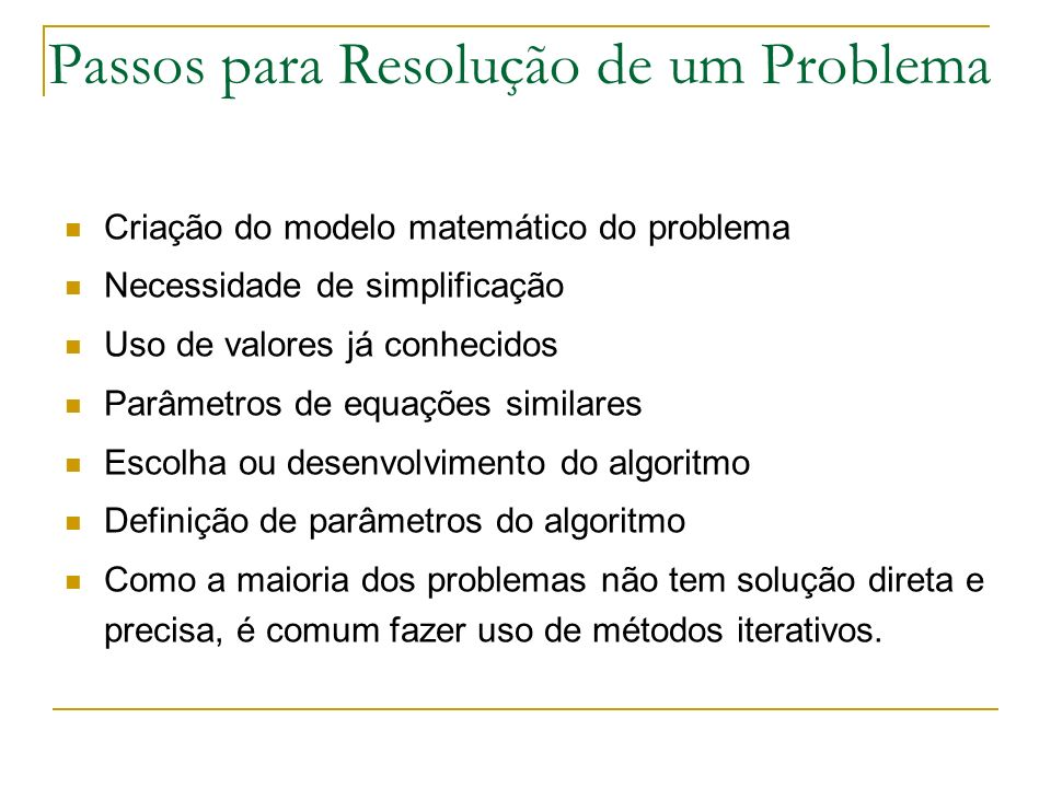 Passos para Resolução de um Problema
