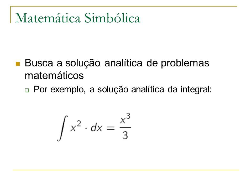 Matemática Simbólica Busca a solução analítica de problemas matemáticos.
