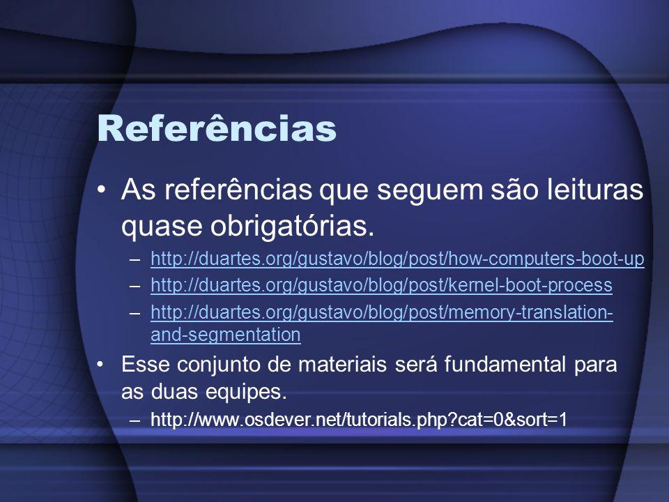 Referências As referências que seguem são leituras quase obrigatórias.