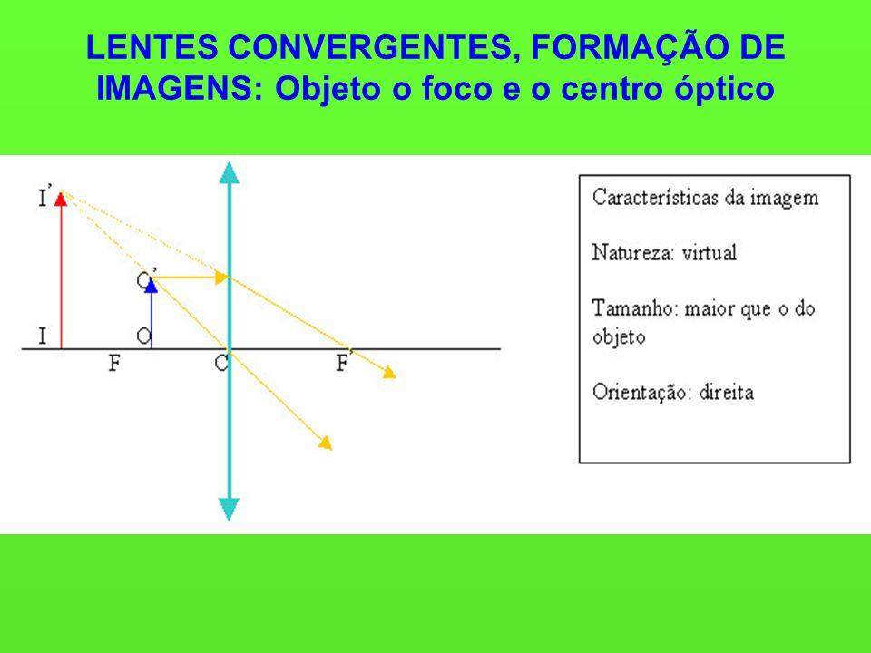 LENTES CONVERGENTES, FORMAÇÃO DE IMAGENS: Objeto o foco e o centro óptico